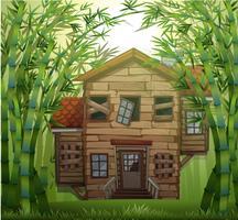 Gammalt trähus i bambuskog