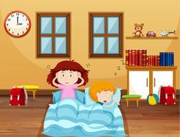 Pojke och tjej som sover i sängen vektor