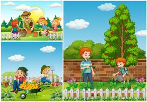 Tre scener med familj som gör trädgårdsarbete