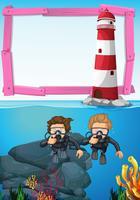 Bakgrundsmall med dykare under vatten