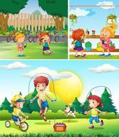 Scen med barn som leker i trädgården