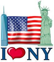 Jag älskar New York banner med amerikansk flagga och byggnader vektor