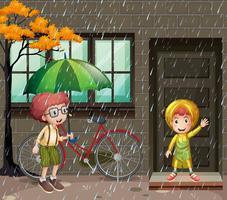 Regnsäsong med två pojkar i regnet