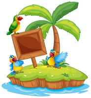 Szene mit drei Papageien auf der Insel