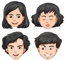 Vier Menschen mit unterschiedlichen Gefühlen vektor