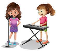Mädchen singen und Mädchen, das elektronisches Klavier spielt vektor