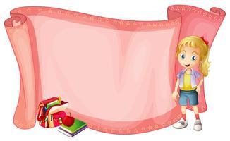 Pappersmall med liten tjej och skolväska vektor