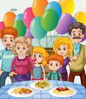Familj med fest hemma