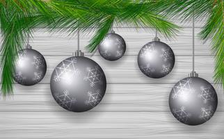 Hintergrunddesign mit grauen Weihnachtskugeln vektor