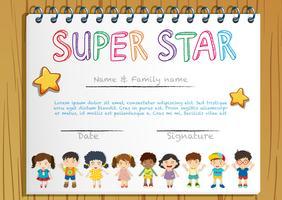 Certifikatmall för superstjärnan vektor