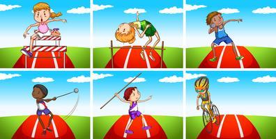 Idrottare gör olika sporter i fältet vektor