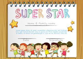 Supersternpreisschablone mit Kindern im Hintergrund vektor