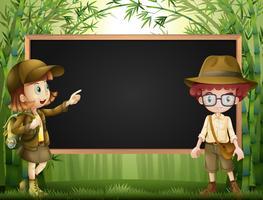 Board-Vorlage mit Kindern in Safari-Outfit