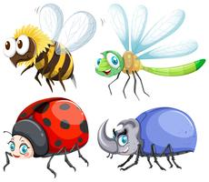 Olika slags insekter som flyger vektor