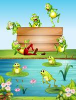 Träskylt med många grodor vid dammen
