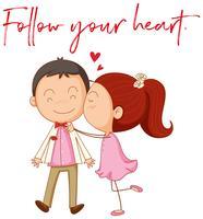 Kärlekspar med fras följer ditt hjärta vektor