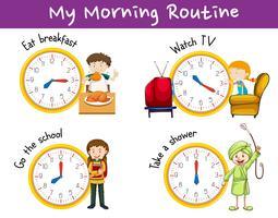 Morgenroutinen für Kinder mit Uhr und Aktivitäten vektor