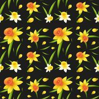Seamless bakgrundsdesign med påskliljar blommor