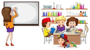 Lehrer und Kinder im Klassenzimmer vektor