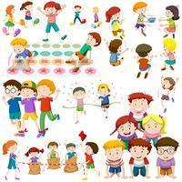 Barn spelar olika typer av spel vektor