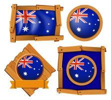 Australien flagga på olika ramdesigner