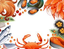 Gränsmall med olika sorters skaldjur