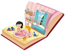 Mädchen, die im Schlafzimmer auf dem Buch spielen