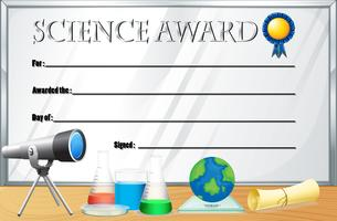 Certifikatmall för vetenskapspriset vektor