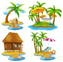 Fyra scener av öar och hav vektor