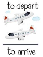 Gegenteilige Wordcard für Abfahrt und Ankunft