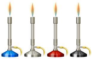 Lab brännare med flamma