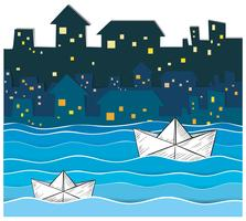 Papierboote, die entlang den Fluss in der Stadt schwimmen vektor