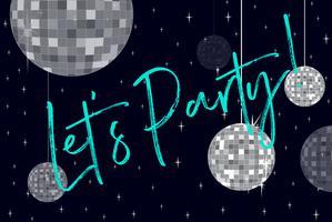 Party bollar och fras låt oss festa vektor