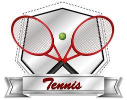 Sportikonendesign mit Tennisschlägern und Ball vektor