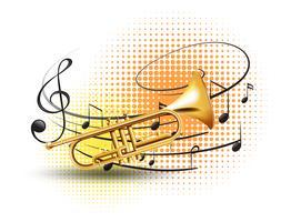 Trumpet med musik anteckningar i bakgrunden