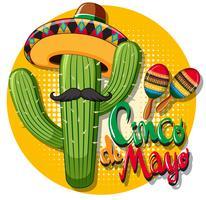 Cinco de Mayo kortmall med kaktus med hatt vektor