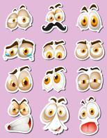 Aufkleberdesign mit Gesichtsausdrücken vektor