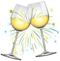 Zwei Weingläser und Feuerwerkshintergrund