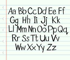 Handskrift engelska alfabet i övre och nedre fall