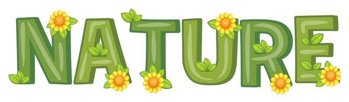 Font design med ord natur