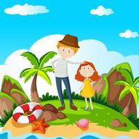 Mann und Mädchen auf der Insel