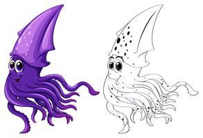 Djur skiss för bläckfisk simning