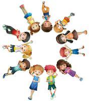 Många barn ligger i cirkel