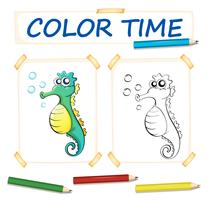 Färgsmall med söt sjöhäst vektor
