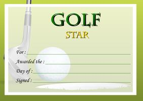 Zertifikatvorlage für Golfstar vektor