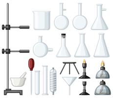 Olika typer av vetenskapliga behållare och brännare