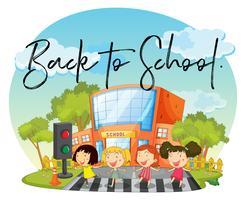 Glückliche Kinder und Wort zurück in die Schule
