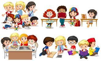 Lyckliga barn lär sig i klassrummet vektor