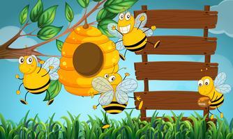 Szene mit hölzernen Brettern und Bienenfliegen im Garten