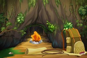 Campfire i skogen